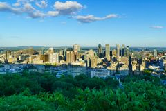 Sunset view of the Downtown Montreal royalty free stock images
