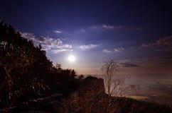 Sunset, view from Drabske Svetnicky, Bohemian paradise.  stock image