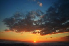 Sunset, view from Drabske Svetnicky, Bohemian paradise.  royalty free stock photo