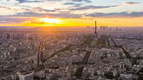 Sunset view of Eiffel Tower in Paris, France Stock Image