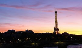 Sunset view of Eiffel tower and Seine river in Paris. France Royalty Free Stock Photography