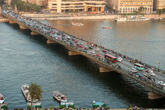 Sunset view of El-Tahrire bridge in Cairo Royalty Free Stock Image