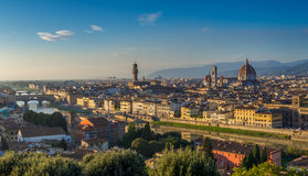 Sunset view of Florence and Duomo Stock Photos