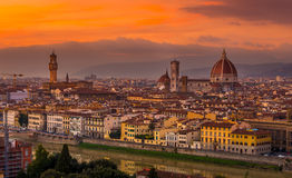 Sunset view of Florence and Duomo Royalty Free Stock Photo