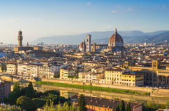 Sunset view of Florence and Duomo Royalty Free Stock Photos