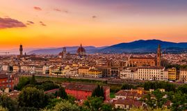 Sunset view of Florence, Palazzo Vecchio and Florence Duomo. Italy Royalty Free Stock Images