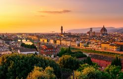 Sunset view of Florence, Ponte Vecchio, Palazzo Vecchio and Florence Duomo. Italy Royalty Free Stock Photos