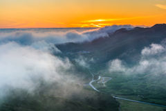 Sunset view of fog over the Marin Headlands from Hawk Hill  Stock Image