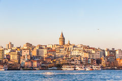 Sunset view on Galata tower and Karakoy district in Istanbul Royalty Free Stock Photo