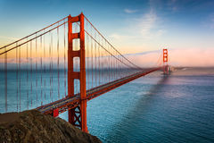 Sunset view of the Golden Gate Bridge and fog  Royalty Free Stock Photo