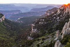 Sunset View of the Grand Canyon North Rim from Locust Point Stock Photography