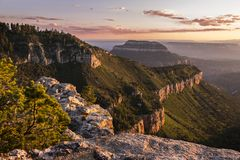 Sunset View of the Grand Canyon North Rim from Locust Point Royalty Free Stock Photography