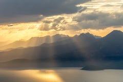 Sunset view at Hai Van's mountain Danang District Vietnam 2016 royalty free stock image