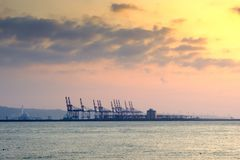 Sunset view with harbour Royalty Free Stock Photos