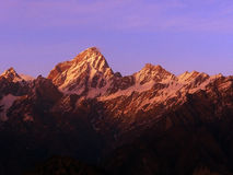 Sunset view of Himalayas from Auli, India Royalty Free Stock Image