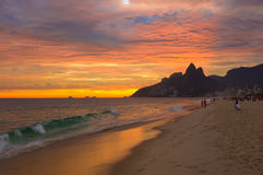 Sunset view of Ipanema beach and mountain Dois Irmao (Two Brother) in Rio de Janeiro Royalty Free Stock Photography