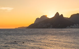Sunset view of Ipanema and Leblon in Rio de Janeiro Royalty Free Stock Images