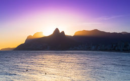 Sunset view of Ipanema in Rio de Janeiro Royalty Free Stock Image