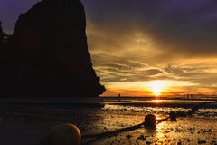Sunset view at the island. The sunset with gold color on the beautiful island royalty free stock photography