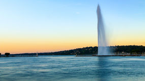 Sunset view of Jet D'eau at Geneva, Switzerland Stock Photos