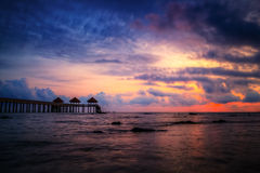 Sunset view with jetty Royalty Free Stock Images