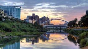 Sunset view of Jingmei bridge. Taipei, Taiwan Royalty Free Stock Photo