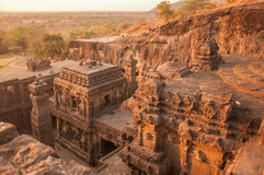 Sunset View of Kailasa Temple Complex from Above Stock Photo