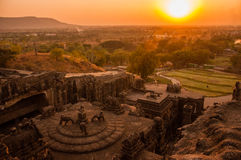 Sunset View of Kailasa Temple Complex from Above Royalty Free Stock Photo