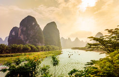 Sunset View on Karst landscape and Li river by Yanhshuo in China. View on Karst landscape and Li river by Yanhshuo in China stock photography