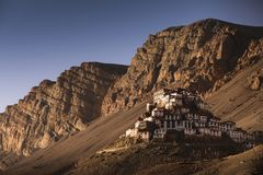 Sunset View of Key Monastery in Spiti Valley. Located in Himachal Pradesh State, northern of India Royalty Free Stock Photos