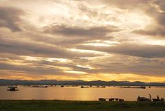 Before sunset. View at Kraseo Dam, Suphanburi Stock Images