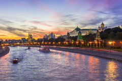 Sunset view of Kremlin and Moscow river in Moscow Royalty Free Stock Photo