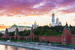 Sunset view of Kremlin in Moscow Stock Photo
