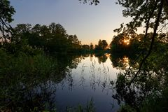 Sunset. View on a lake during sunset Royalty Free Stock Photos