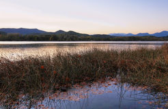 Sunset view of Lake Banyoles Stock Images
