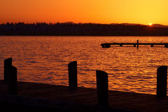 Sunset View (landscape). This is a spring sunset view from Marina Park in Kirkland, WA royalty free stock photo