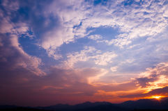 Sunset view landscape with layer mountain Royalty Free Stock Image