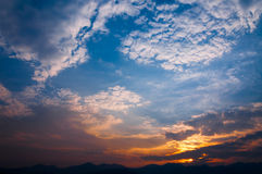 Sunset view landscape with layer mountain Royalty Free Stock Photos
