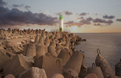 Sunset  view of lighthouse Stock Images