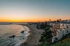 Sunset view of the Main Beach from Inspiration Point, in Corona del Mar, Newport Beach, California.  royalty free stock photography