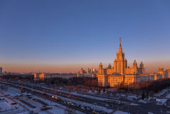 Sunset view of main building of Moscow State University in winter Stock Photography