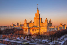 Sunset view of main building of Moscow State University in winter Royalty Free Stock Image