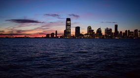 Sunset view from Manhattan - Hudson river and Jersey City skyline stock video