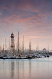 Sunset view of Marina Port Vell in Barcelona,Spain Stock Photo