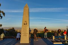 Sunset view of Martin Luther King Jr monument. Los Angeles, JAN 20: Sunset view of Martin Luther King Jr monument on JAN 20, 2019 at Los Angeles, California royalty free stock photo
