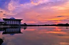 Sunset view Masjid Besi (Iron Mosque) or Masjid Tuanku Mizan Zainal Abidin, Putrajaya, Malaysia Royalty Free Stock Image