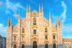 Sunset view of Milan Duomo Cathedral Royalty Free Stock Photo