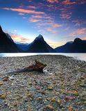Sunset view at Milford Sound, New Zealand Stock Photos