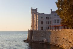 Sunset View of Miramare Castle in Trieste Royalty Free Stock Images