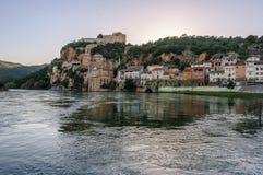 Sunset view of Miravet Castle in Spain stock photos